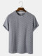 Mens Striped Texture Crew Neck Casual Short Sleeve T-Shirts - Navy