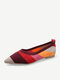 Women Pointed Toe Soft Loafers Comfy Slip On Shallow Casual Knitted Flats - Red