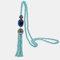 Vintage Luxury Geometric Agate Rhinestone Tassel Long Necklace Handmade Crystal Beaded Sweater Chain - Light Blue