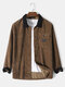 Mens Corduroy Contrast Patchwork Snap Button Flap Pocket Casual Shirt Jacket - Brown