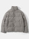 Mens Corduroy Solid Color Stand Collar Thick Casual Puffer Jacket - Gris oscuro
