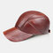 Men's Leather Hat First Layer Cowhide Casual Dome Duck Tongue Earmuffs Adjustable Big Brim Baseball Cap - Red Brown