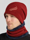 Men 2PCS Embroidered Thick Winter Outdoor Neck Protection Headgear Scarf Knitted Hat Beanie - Red