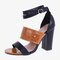 Large Sizes Women Double Band Buckle Pumps Chunky Shoes - Brown
