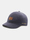 Unisex Cotton Solid Color Letter Leather Label Short Brim All-match Sunscreen Baseball Caps - Navy