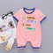 Baby Cute Print Short Sleeves O-neck Soft Cotton Casual Rompers For 3-18M - Pink