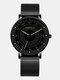 6 Colors Men Business Watch Adjustable Alloy Mesh Band Luminous Quartz Watch - Rose Gold Pointer Black Band