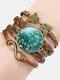 Vintage Painting Crystal Bracelet Hand-Woven Butterfly Infinity Symbol Men Women Multi-Layer Leather Bracelet - #06