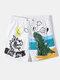 Mens Cartoon Graffiti Print Mesh Breathable Beachwear Casual Holiday Board Shorts With Liner - White