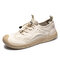 Men Breathable Mesh Fabric Splicing Lace-up Round Toe Casual Outdoor Shoes - Beige