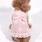 Pet Clothes Summer Dress Linen Cotton Sling Flying Sleeves Daisy Flower Doll Skirt Pet Clothing - Pink