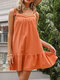 Summer Holiday Solid Color Sleeveless Knotted Lace Patchwork Casual Dress - Orange