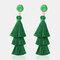 Bohemian Temperament 3 Layer Tassel Earrings Irregular Crystal Geometric Tree Tassel Stud Earrings - Green