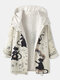 Cartoon Cat Print Patchwork Long Sleeve Thick Hooded Coat For Women - White