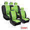 9Pcs/Set PU Leather Car Seat Detachable Covers Front Bucket Full Set Protector - Green