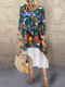Print Patchwork V-neck Casual Plus Size Maxi Dress - Green