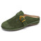 LOSTISY Suede Closed Toe Hollow Buckle Decor Backless Flats for Women - Green