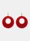 Christmas Red Flower Women Earrings Hollow Butterfly Tassel Pendant Earrings Jewelry Gift - #06