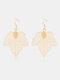 Bohemia Leaf Tassel Women Earrings Hollow Maple Leaf Pendant Earrings Jewelry Gift - #02
