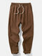 Mens Pure Color Seam 100% Cotton Loose Casual Drawstring Pants - Coffee