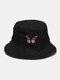 महिला और पुरुष कढ़ाई तितली पैटर्न डेनिम आउटडोर आकस्मिक सनशेड बाल्टी टोपी - काली