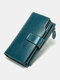 Vintage Genuine Leather Trifold RFID Anti-Theft Stitch Craft Multi-Slots Snap Clasp 6.5 Inch Phone Bag Long Wallet - Peacock Blue