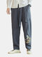 Mens Cotton Linen Chinese Retro Embroidery Loose Harem Pants - Grey