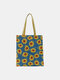 Women Dotted Daisy Printed Tote Bag - Blue