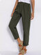 Solid Color Elastic Waist Casual Harem Pants For Women - Green