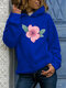 Calico Print Long Sleeve Casual Plus Size Hoodie - Blue