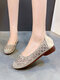 Women Casual Hollow-out Rhinestone Ballet Flat Shoes - Beige