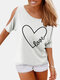 Letters Heart Printed O-neck Off Shoulder Blouse - White