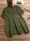 Casual Button Short Sleeve Plus Size T-shirt with Pockets - Green