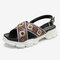 LOSTISY Embroidered Cross Strap Casual Slingback Sport Sandals - Beige