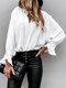 Solid Color V-neck Ruff Long Sleeve Blouse - White