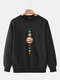 Mens Cartoon Planet Print Plain Daily Loose Lounge Pullover Sweatshirts - Black