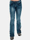 Vintage Embroidery Button Casual Demin Jeans For Women - Navy Blue