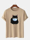 Mens 100% Cotton Funny Cat Printed Short Sleeve Graphic T-Shirt - Khaki