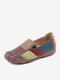 SIKETU Women Casual Color Block Round Toe Soft Comfy Flat Loafers Shoes - Red