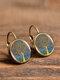 Vintage Glass Dangle Women Earrings Plant Flower Pattern Earrings Jewelry - #14
