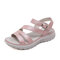 Women Large Size Buckle Strap Opened Toe Beach Wedges Sandals - Pink