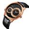 CRRJU reloj para hombre dos movimientos reloj de pulsera militar cuero cuarzo negocios relojes de lujo - Oro rosa