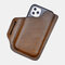 Men EDC Genuine Leather Retro 6.3 Inch Phone Bag - Coffee