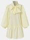 Women Solid Color Puff Long Sleeve Bowknot Patchwork Casual Dress - Yellow