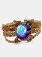 Vintage Galaxy Starry Sky Pattern Butterfly Geometric Shape Hand-braided Glass PU Alloy Multi-layer Bracelet - #04