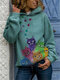 Multi-color Cat Print Long Sleeve Casual Hoodie For Women - Green