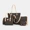 Women 6 PCS Print Large Capacity Handbag Shoulder Bag Tote - Black