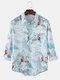 Mens Allover Flying Crane Landscape Printed Casual Long Sleeve Shirts - White