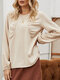 Solid Color Pleated Long Sleeve Casual Base Blouse for Women - Khaki