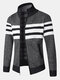 Mens Knitted Stripe Zip Front Stand Collar Casual Warm Cardigans - Gray